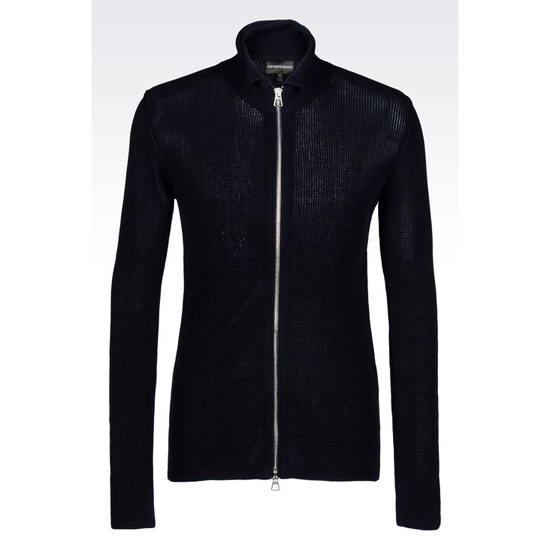 ARMANI FULL ZIP CARDIGAN IN NET STITCH COTTON