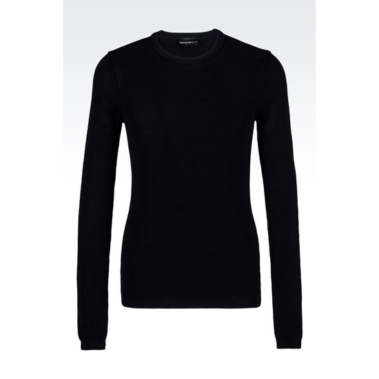 ARMANI SWEATER IN NET STITCH COTTON