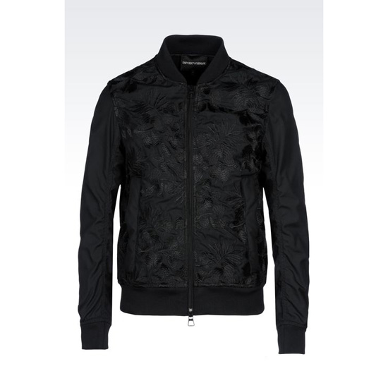 ARMANI EMBROIDERED BOMBER IN TECHNICAL CANVAS