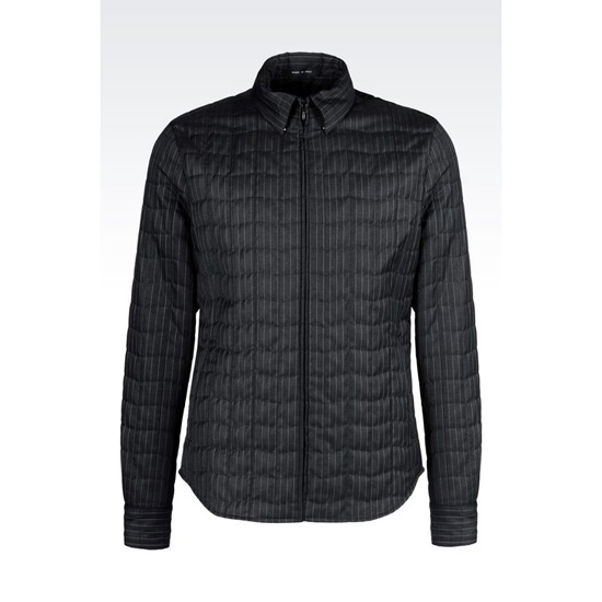 ARMANI QUILTED SHIRT IN PINSTRIPE WOOL