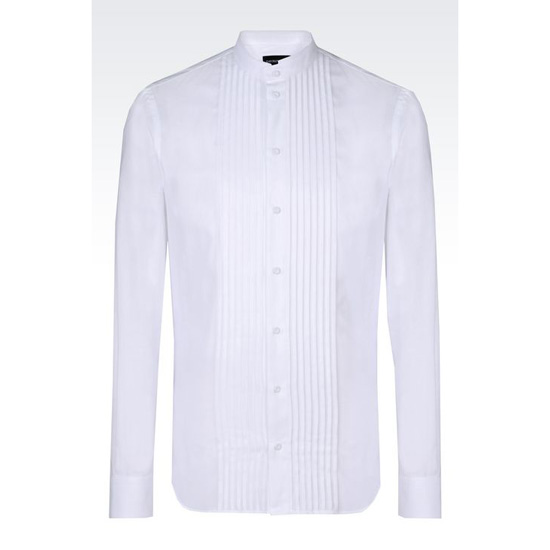 ARMANI COTTON SHIRT WITH MANDARIN COLLAR