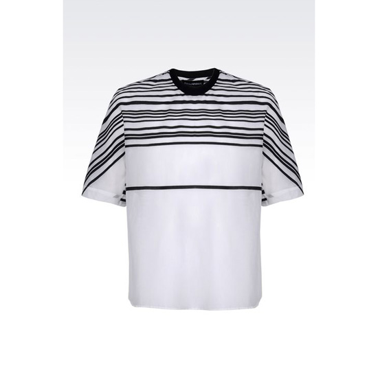 ARMANI RUNWAY T-SHIRT IN STRIPED COTTON AND SILK