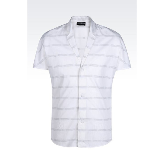 ARMANI LAPEL COLLAR SHIRT IN WOVEN COTTON