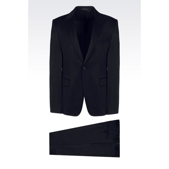 ARMANI SINGLE-BREASTED SUIT IN STRETCH WOOL AND SATIN