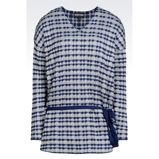 ARMANI SWEATER IN JACQUARD WITH DRAWSTRING WAIST