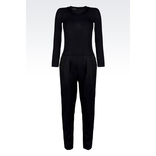 ARMANI CREW NECK JUMPSUIT IN STRETCH FAILLE