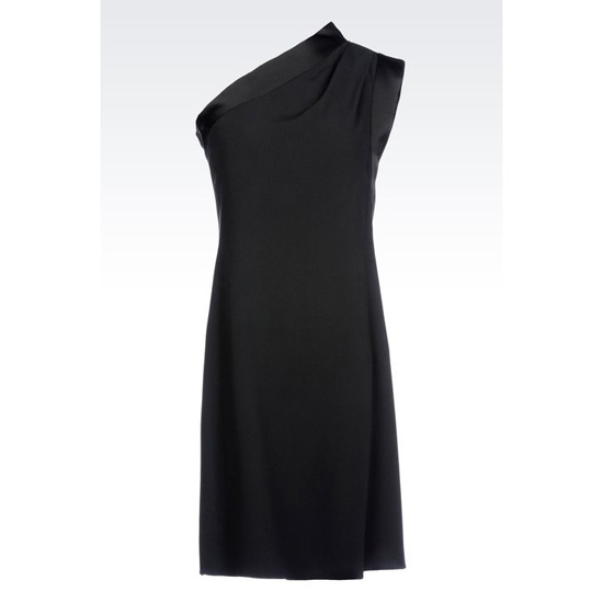 ARMANI ONE-SHOULDER DRESS IN CADY WITH SATIN TRIM