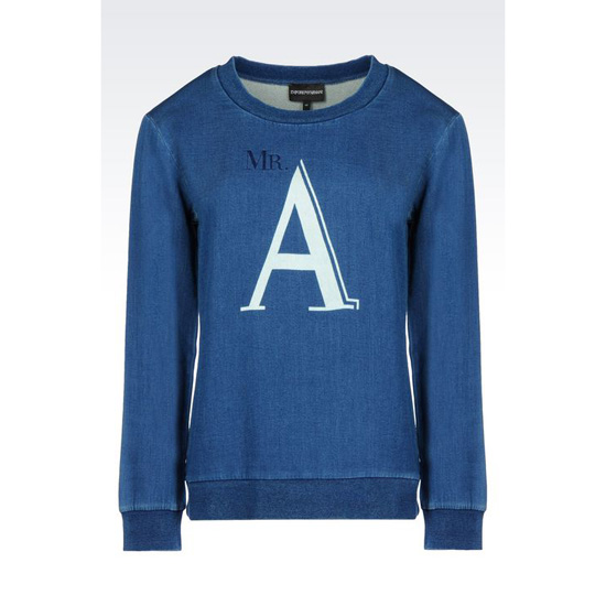 ARMANI CREW NECK SWEATSHIRT WITH MR. A PRINT