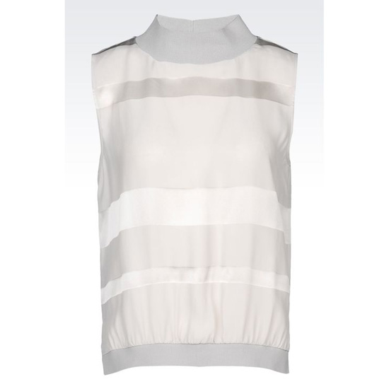 ARMANI STRIPED SILK TOP