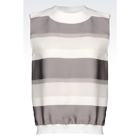 ARMANI RUNWAY TOP IN STRIPED COTTON AND SILK