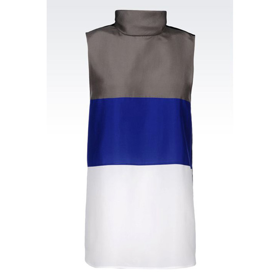 ARMANI RUNWAY TOP IN STRIPED SILK POPLIN