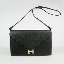 Hermes Black Shoulder Bags with Gold Hardware H021