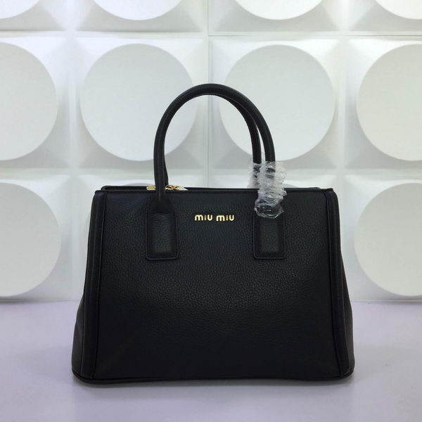 miu miu Litchi Leather Tote Bag RL3268 Black