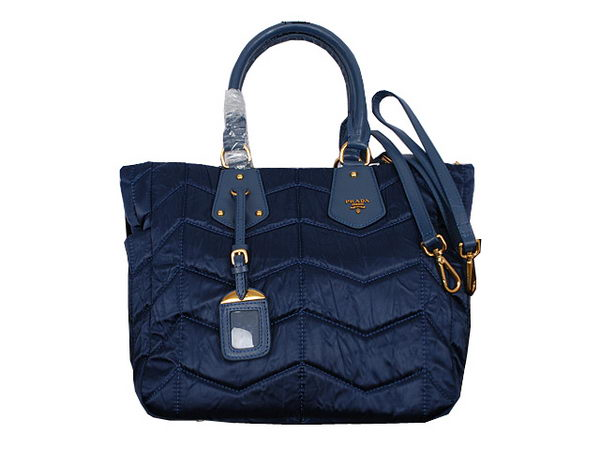 Prada Wrinkle Nylon Fabric Tote Bag BN2960 RoyalBlue