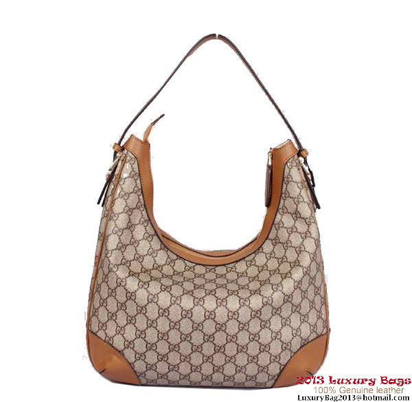 Gucci Nice GG Supreme Canvas Hobo Bag 309618 Camel
