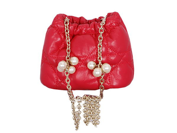 Dior Hobo Bag in Sheepskin Leather 2015 Red
