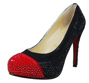Christian Louboutin Red Sole Shoes Fashion Crystal Pumps Black With Red Toe