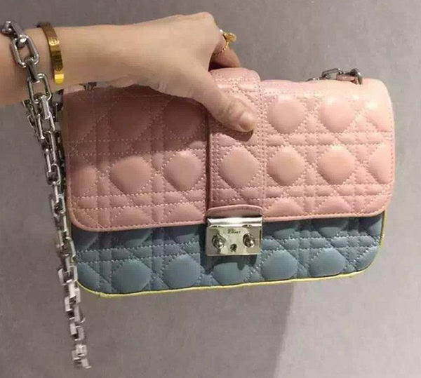 MISS DIOR Sheepskin Leather Shoulder Bag CD5504 Pink&Blue