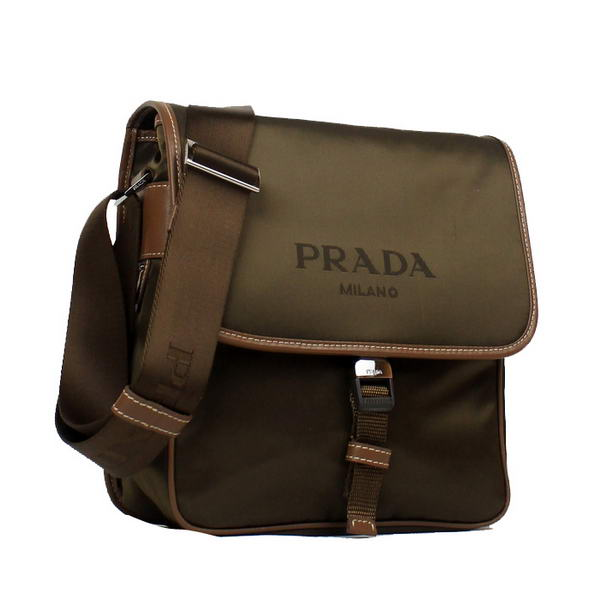 Prada Vela Fabric Messenger Bag VA0770 Brown