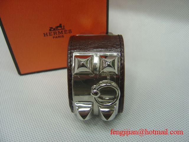 2010 Hermes dark Brown Leather Silver Bangle 1171