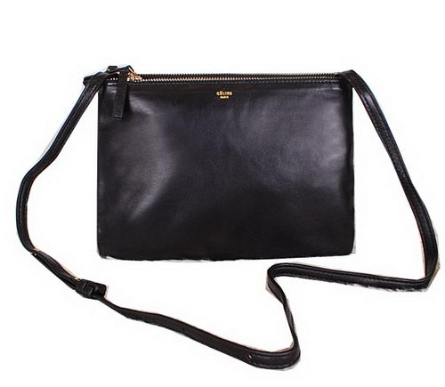 Celine Trio Calfskin Leather Shoulder Bag C27002 Black
