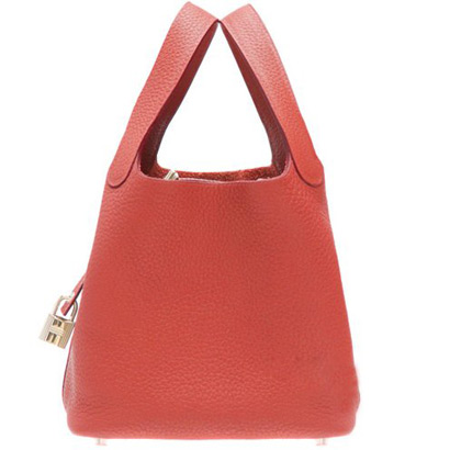 Hermes Taurillon Clemence Leather PM bag Rouge Garance Silver Hardware
