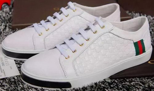 Gucci Guccissima Leather Casual Shoes Calfskin GG0455 White