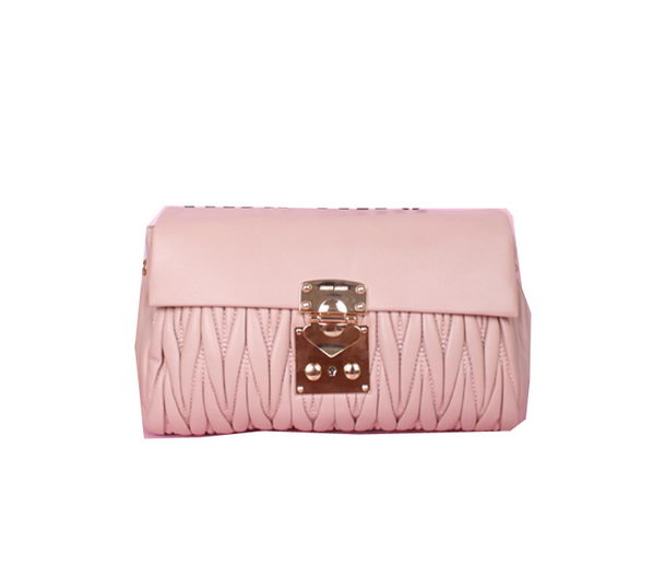 miu miu Matelasse Lambskin Leather Shoulder Flap Bag 81237 Light Pink