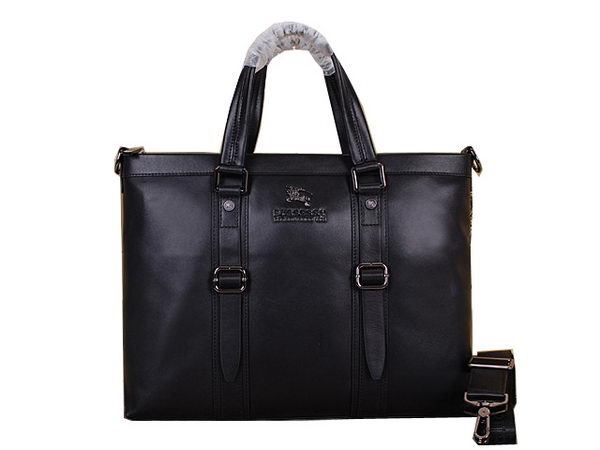 Burberry Calfskin Leather Mens Briefcase B8005 Black