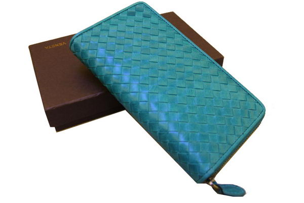 Bottega Veneta Intrecciato Nappa Zip Around Wallet 17004 Light Green