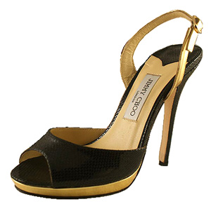 Jimmy Choo Kirsty Leather Sandal - Black and Gold