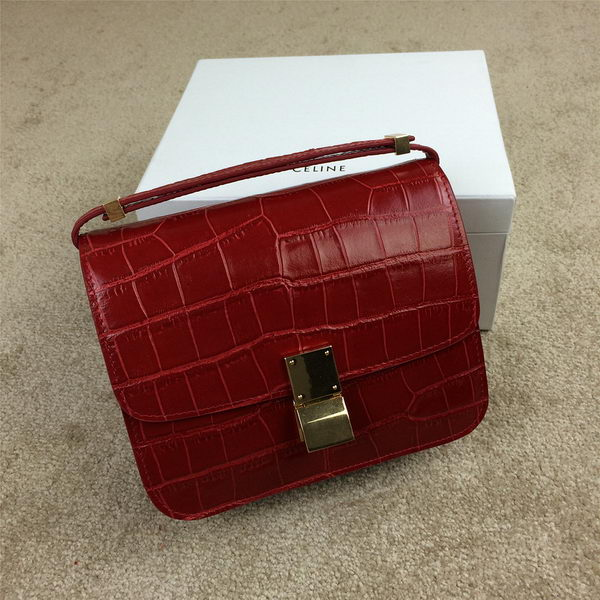 Celine Classic Box Small Flap Bag Croco Leather C11042 Red