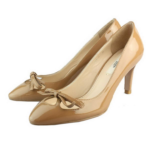 Prada Patent Leather Bow Pump PD090 Brown