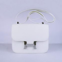 Hermes Constance Bag White Oxhide Leather Silver