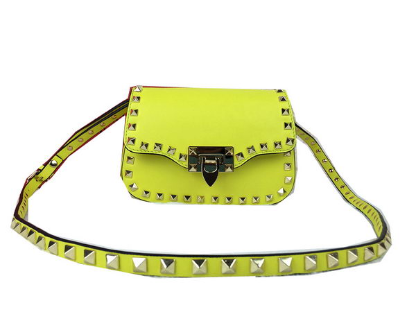 Valentino Garavani Rockstud Shoulder Bag Original Leather V1928 Lemon
