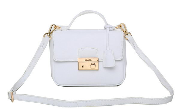 Prada Saffiano Leather Flap Bag BN0960 White