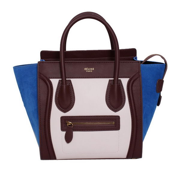 Celine Luggage Micro Handbags Original Suede Leather 88023 Light Pink&Maroon&Blue
