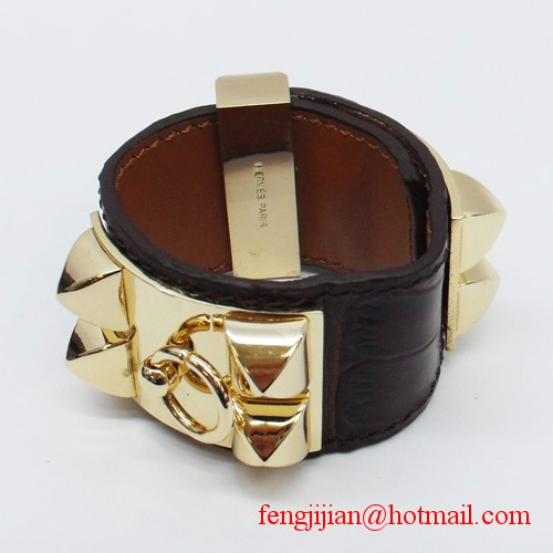 2010 Hermes D-Brown Snakeskin Gold Bangle 1171