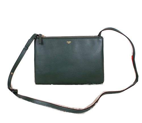 Celine Trio Calfskin Leather Shoulder Bag C27002 Green