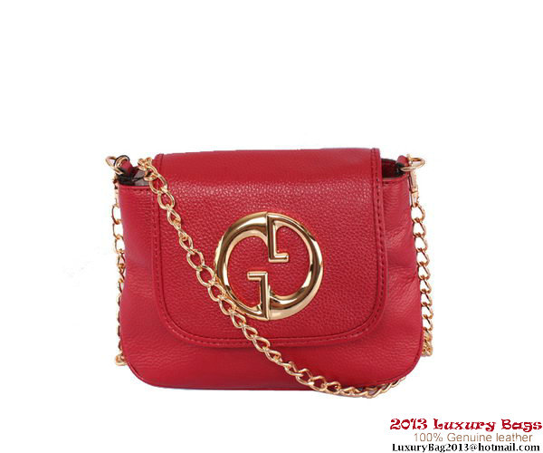 Gucci 1973 251821 Burgundy Leather Chain Shoulder Bag