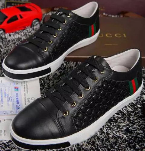Gucci Guccissima Leather Casual Shoes Calfskin GG0455 Black