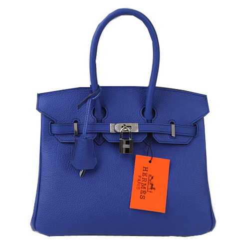 Hermes Birkin 25CM Tote Bags Blue Original Leather Silver