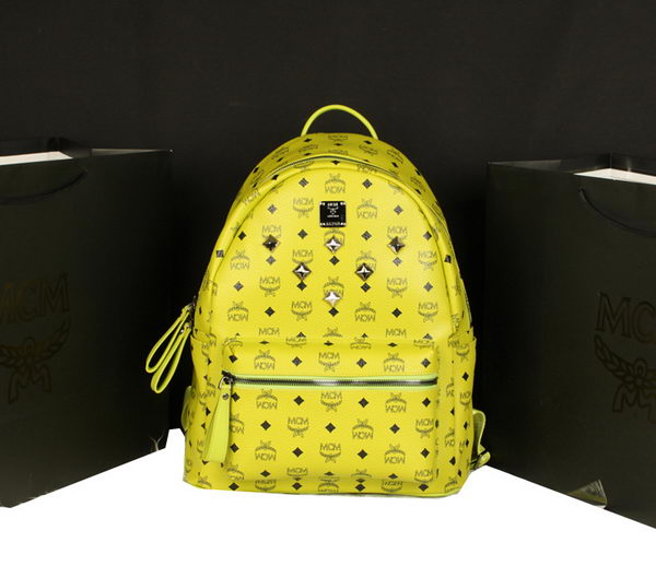 MCM Stark Backpack Jumbo in Calf Leather 8006 Lemon