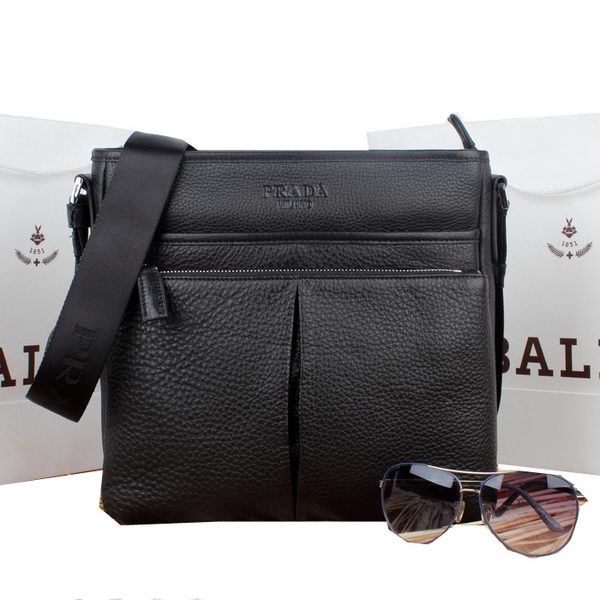 Prada Calf Leather Messenger Bag VA0959 Black