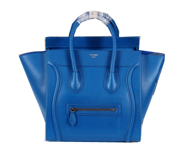 Celine Luggage Mini Boston Tote Bags Calfskin Leather CL3308 Royal