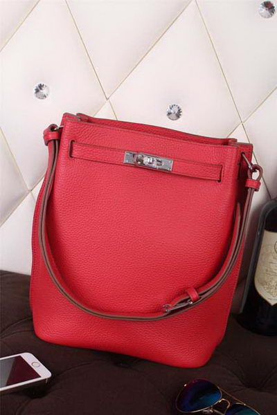 Hermes So Kelly Hobo Bag Original Leather Red