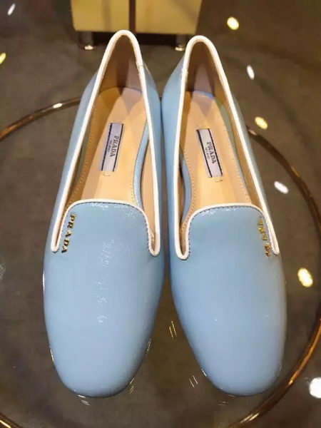Prada Patent Leather Flat Shoe PD441 Light Blue