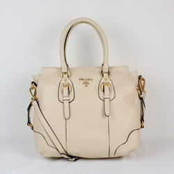 Prada YZ-8033 Beige Milled Leather Tote Bags