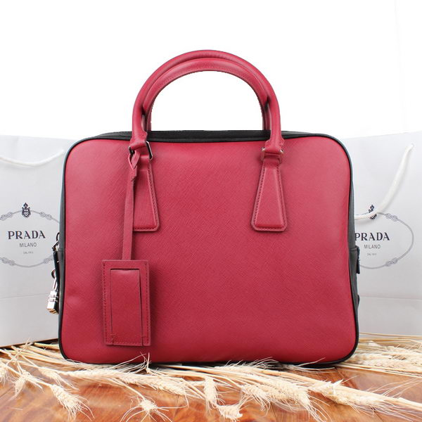 PRADA Saffiano Leather Briefcase VS0305 Red&Black