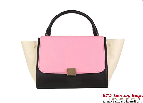Celine Trapeze Bag Calfskin Leather 88037 Pink&Black&OffWhite